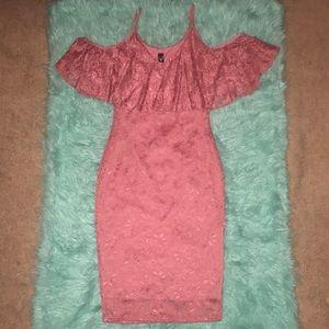 Windsor rose gold lace mini dress   size L